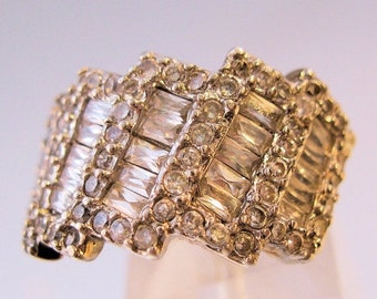 BIGGEST SALE of the Year 3ct CZ Baguette Sterling Silver Large Band Ring Size 6 1/2 Vintage Jewelry