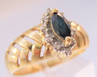 BIGGEST SALE of the Year Vintage 14k Marquise .3ct Sapphire & Diamond Ring Size 7.5 Fine Jewelry Jewellery