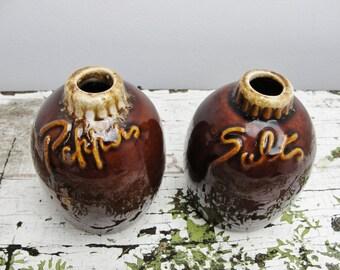 Vintage Hull brown drip Salt and Pepper shakers