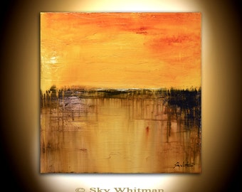 Orange Brown Abstract Painting Large Original Art Square Modern Textured Oil Painting Sunburst High Gloss Contemporary art Landscape Shiny
