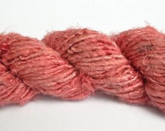 Banana Fiber Salmon Pink Yarn, Handspun Yarn - One Skein of 65 Yards, 4 Worsted Weight