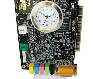 "FREE SHIPPING USA! Alarm Clock from Recycled ""Sound Blaster"" Circuit Board. Got Gamer, Rocker?"