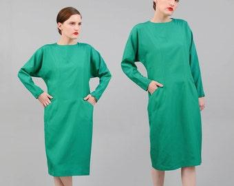 Vintage 80s Green Silk Dress Batwing Dolman Long Sleeve Sheath Dress Emerald Kelly Green Medium M