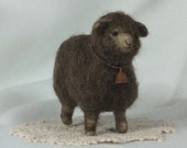 RESERVED FOR BARB Dark Brown Needle Felt Wool Sheep