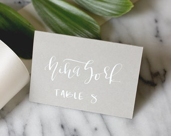 Grey with White Hand Lettering Calligraphy Place Card