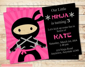Pink Girl Ninja Party Birthday Invitation