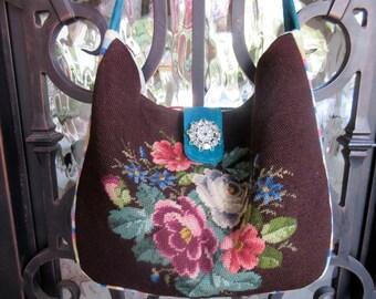Vintage Needlepoint Flowers,  Striped Velvet Handbag