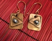 Rustic Copper Earrings with Sterling Silver Ball Design