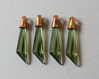 Unusual Vintage Tourmaline Green Glass Triangle Dangles Tiny Pendants Glass Charms