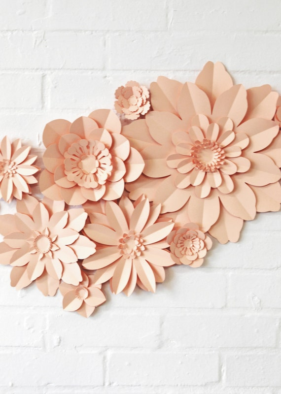 Set of 11 paper flowers for wedding decoration kit