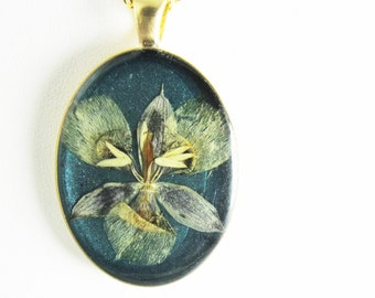 Cats Ears, Pressed Flower Pendant, Real Natural  Flowers in resin  (1881)