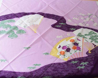 Furoshiki Wrapping Cloth With A Japanese  Design Lilac Purple Tones