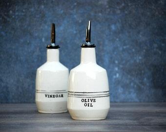 Oil vinegar set -  ceramic olive oil - olive oil bottle - minimal cruet  set - olive oil dispenser - mothers day gift - housewarming gift -