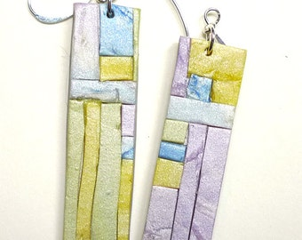 spring sale !  Polymer Clay Mosaic Earrings, Art Deco Influence.  Special Price.   Worldwide Shipping