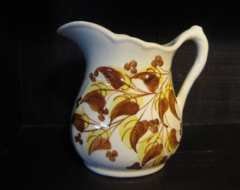 Cash Family Pottery Pitcher, Tennessee Pottery Pitcher, Clinchfield Artware, Erwin, TN Pitcher, Porcelain Cash Family Pitcher Brown Leaves