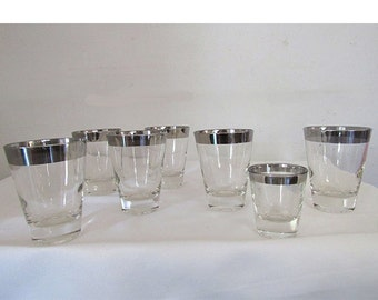 Vintage  Set of 6 1950s Silver Rimmed Low Ball Glasses plus 1 Matching Shot Glass  Mad Men Chic Hollywood Regency