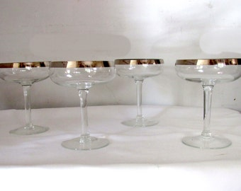 4  Vintage Silver Rimmed  Martini  Glasses Mid Century Modern Hollywood Regency  Mad Men Chic