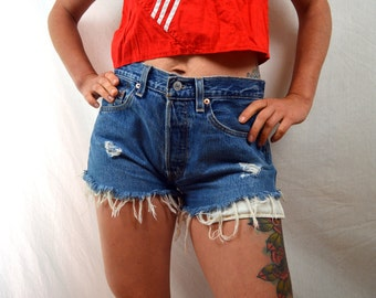 Vintage 90s Levis Dark Wash Distressed Denim Cut Offs Shorts