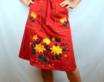 Vintage 80s 90s Red Embroidered Hippie Wrap Around Skirt