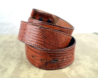Vintage Justin Tooled Leather Belt - Genuine Lizard - Size 36