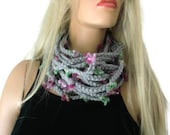 Gray infinity scarf cowl,Unisex  crochet cowl, gray  tiny flower scarf  best friend gift, Bridesmaids gift