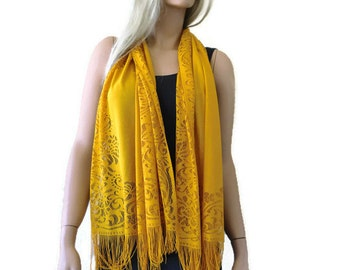 Golden corn lace  scarf shawl -Corn yellow-mustard yellow lace fringe  scarf