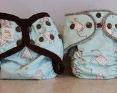 Preemie Newborn Cloth Diaper & Diaper Cover Set-  4 to 9 pounds- Paper Airplanes- 29008