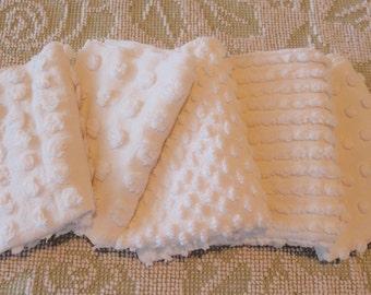 "Vintage Chenille Fabric Mini Sets - Five 12"" x 18"" pieces - Just Whites - Popcorn - 200-34"