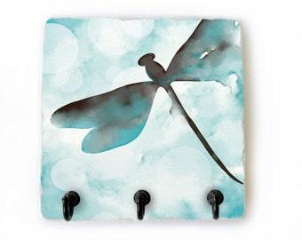 Dragonfly Key Hook Decorative Tile, Aqua Blue Key Rack, Dragonfly Key Hanger, Blue and Brown Key Holder, Dragonfly Hooks (67)
