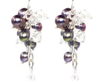Sterling silver, purple freshwater pearl and swarovski crystal lattice earrings