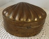 Brass Hinged Scallop Shell Jewelry Box
