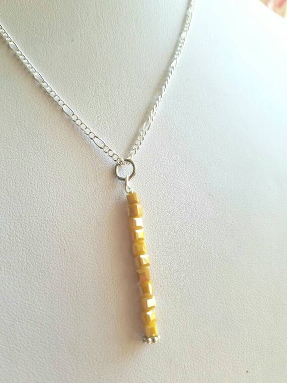 Crystal pendant, long crystal pendant, yellow crystal pendant necklace, crystal bar necklace pendant, dainty pendant, minimalist necklace
