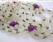 Love Yourself Sale Two Flapper Length Necklaces White and Purple Beads