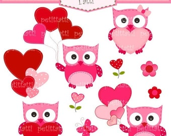 ON SALE valentine's day clip art- owls with heart clipart, Digital clip art for all use, owls clip art, pink, red, valentine clip art