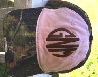 Pink Mossy Oak Camo custom monogrammed hat