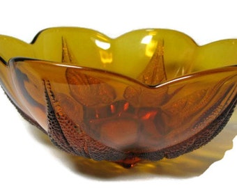 Amber Glass Serving Bowl