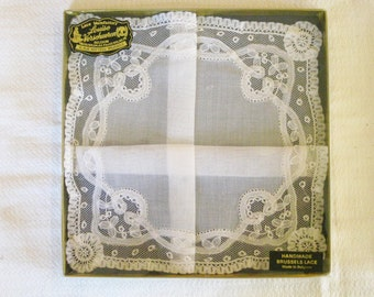 Brussels Lace Handkerchief, New in Box, Louise Verschueren Brussels Lace Made in Belgium, White Linen Bridal Wedding Lace