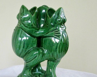 Old Frog Vase, Triple Dancing Green Frogs, Mid Century Pottery Figurine, Collectible Figure Sculpture Garden Decor AS IS