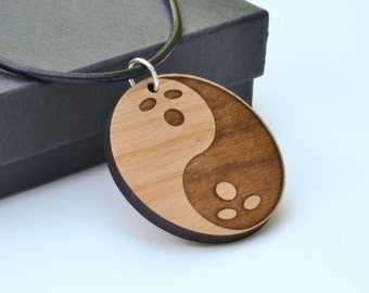 NEW Dudeism Bowling Ball Yin & Yang Necklace Laser Engraved from Alder Wood Leather Cord Unisex Big Lebowski Movie Dude Zen Gift