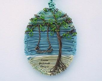 Swing by the Sea pendant, ooak wire pendant, tree of life pendant, ocean scene, seaside jewellery, nature inspired