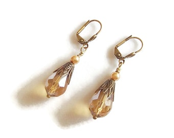 Faceted Glass Earrings. Amber Faceted Glass. Vintage Style. Elegant Earrings