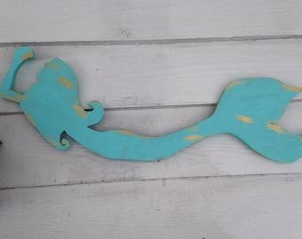 Mermaid art wood cut out  in Aqua
