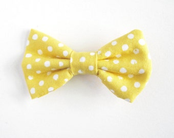 Yellow Polka-dot Cotton Hair Bow,  Yellow hairbow, Girls Hair Bow, Hair clip, baby barrette, toddler hairbow, dotted hairbow, cute hair clip