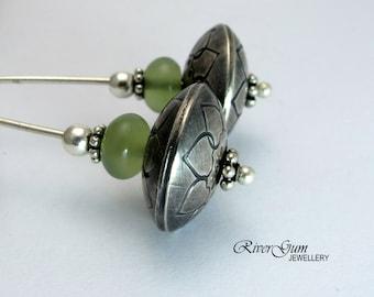 Long Silver Earrings, New Jade Earrings, Handmade Silver Beads, Hand Stamped, Artisan Silver Earrings