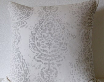 Pillow Cover - Manchester - Ikat - Grey - White - Damask - Decorative - Accent - Cushion Cover