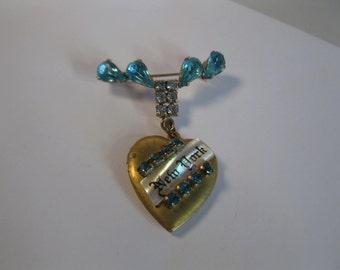 vintage New York souvenir heart pendant brooch