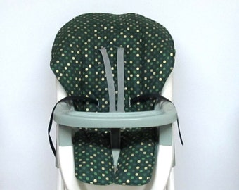 Graco baby accessory high chair cover, replacement baby chair pad, highchair cushion, feeding chair pad, kids,green with gold metallic dots