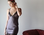 stretch silk chemise with embroidered lace trim - ALICE charmeuse with spandex bridal range - made to order