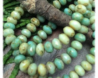 Turquoise Picasso Mix Faceted 3x5mm  Rondells