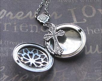 Locket, Silver, Cross, Necklace, Scent Locket, Cross Jewelry, Aromatherapy Jewelry, Celtic Cross Necklace, Wedding Gift, Bouquet Locket LOVE